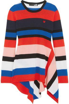 LOVE MOSCHINO Asymmetric striped wool sweater