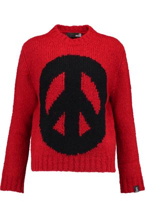 LOVE MOSCHINO Peace intarsia-knit sweater