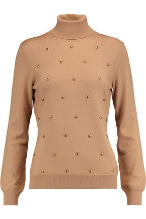 LOVE MOSCHINO Stud-embellished wool-knit turtleneck sweater