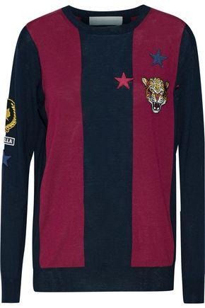 STELLA McCARTNEY Appliquéd striped wool sweater