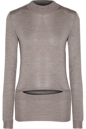 STELLA McCARTNEY Cutout stretch-silk turtleneck sweater