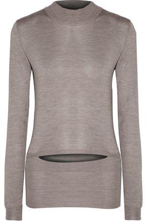 STELLA McCARTNEY Cutout stretch-silk turtleneck sweater