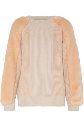 STELLA McCARTNEY Faux fur-paneled ribbed wool sweater