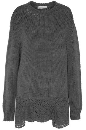 STELLA McCARTNEY Macramé-paneled wool-blend sweater