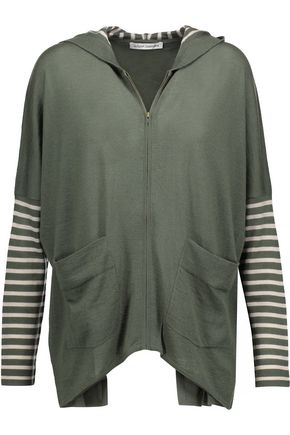 AUTUMN CASHMERE Open-back striped cashmere hooded top