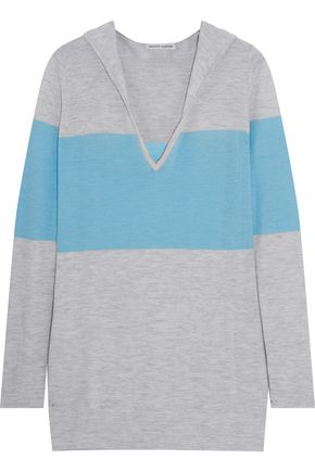 AUTUMN CASHMERE Paneled cashmere hooded sweater