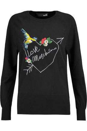 LOVE MOSCHINO Embroidered cotton-jersey sweater