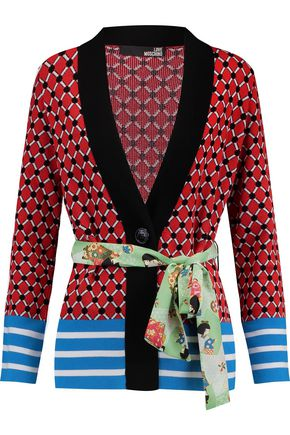 LOVE MOSCHINO Printed crepe-trimmed jacquard-knit cardigan