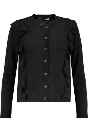 LOVE MOSCHINO Ruffle-trimmed stretch-knit cardigan