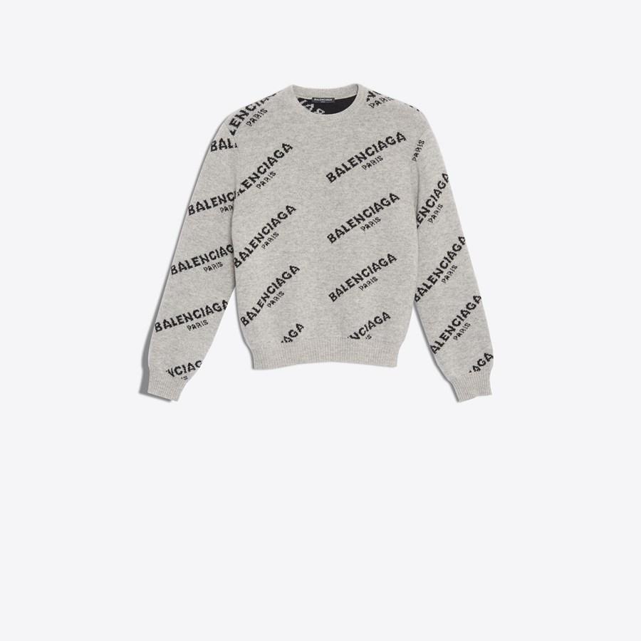BALENCIAGA Jacquard Logo Crewneck Knitwear Man f