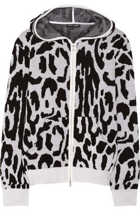 BAJA EAST Leopard-patterned cashmere hooded top