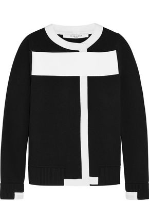 GIVENCHY Wool-blend cardigan with white trim