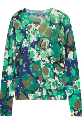 BOTTEGA VENETA Printed cashmere and silk-blend cardigan