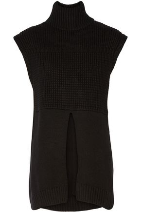 Line WOMAN ALEXANDER WAFFLE-KNIT COTTON-BLEND TURTLENECK VEST BLACK