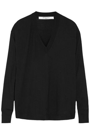 GIVENCHY Wool and silk-blend sweater in black
