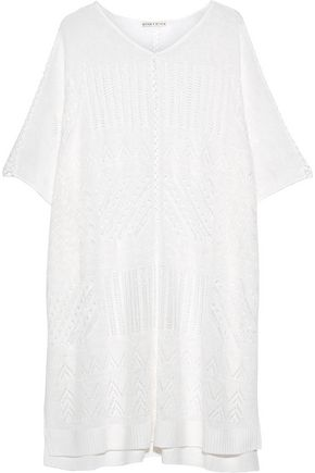 ALICE+OLIVIA Willard pointelle-knit linen-blend poncho