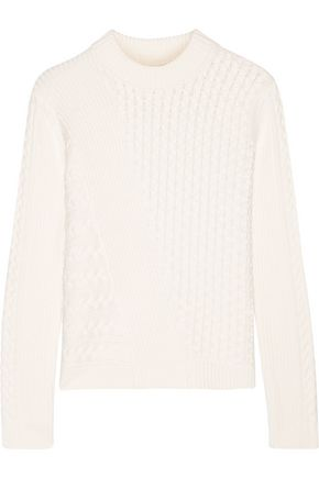 TORY BURCH Textured-knit cotton-blend sweater