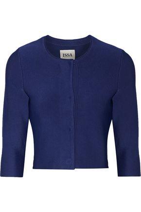 ISSA Cropped stretch-knit cardigan