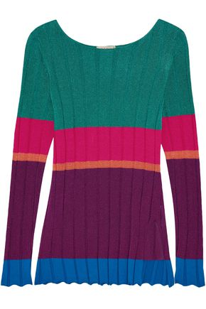 ETRO Striped ribbed jersey top