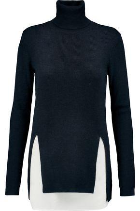 JOSEPH Merino wool and washed-silk turtleneck sweater