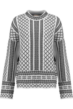TORY BURCH Merino wool-blend jacquard sweater