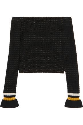 3.1 PHILLIP LIM Off-the-shoulder smocked cotton-blend sweater