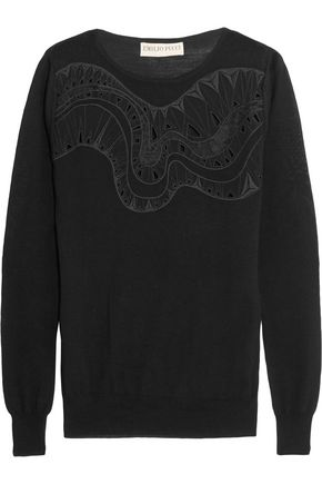 EMILIO PUCCI Embroidered silk-blend chiffon-paneled wool sweater