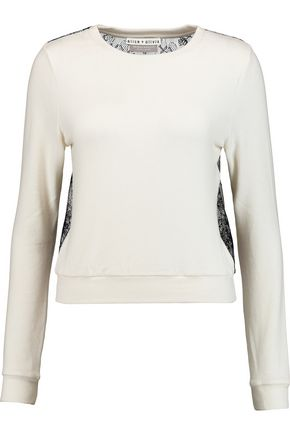 ALICE + OLIVIA Lace-paneled knitted sweater