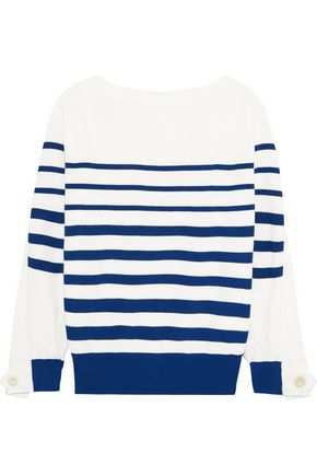 SACAI Lace-up twill-paneled striped cotton sweater