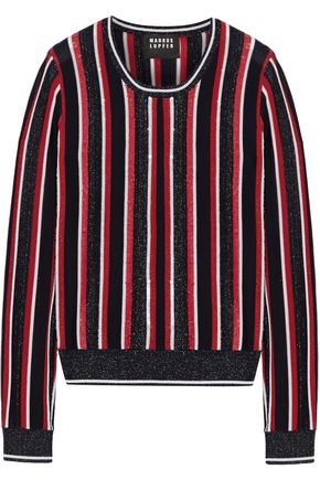 MARKUS LUPFER Grace embellished striped metallic merino wool-blend sweater