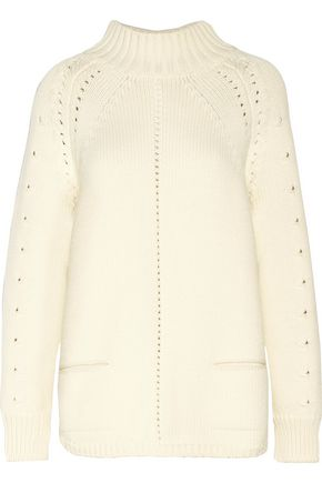 OSCAR DE LA RENTA Cable-knit wool turtleneck sweater