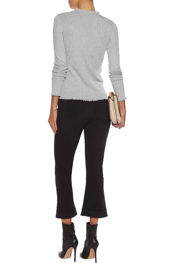 Ruffle-trimmed ribbed-knit sweater | LINE | Sale up to 70% off | THE OUTNET