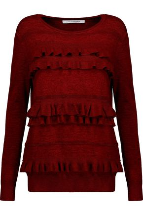 DIANE VON FURSTENBERG Benni ruffled stretch-knit sweater