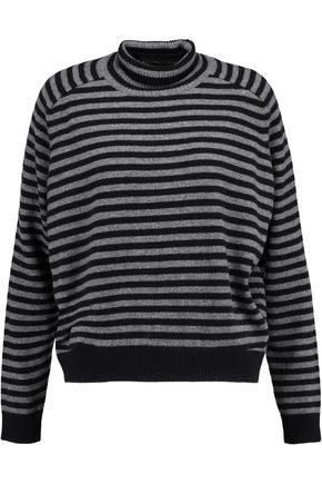 VINCE. Striped cashmere turtleneck sweater
