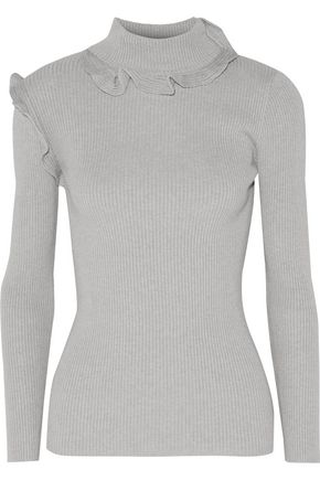RAOUL Ruffled ribbed cotton-blend turtleneck sweater