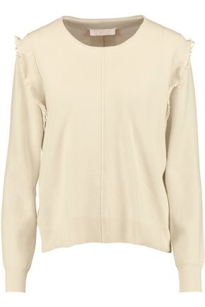 CHLOÉ Pompom-embellished cotton and silk-blend sweater