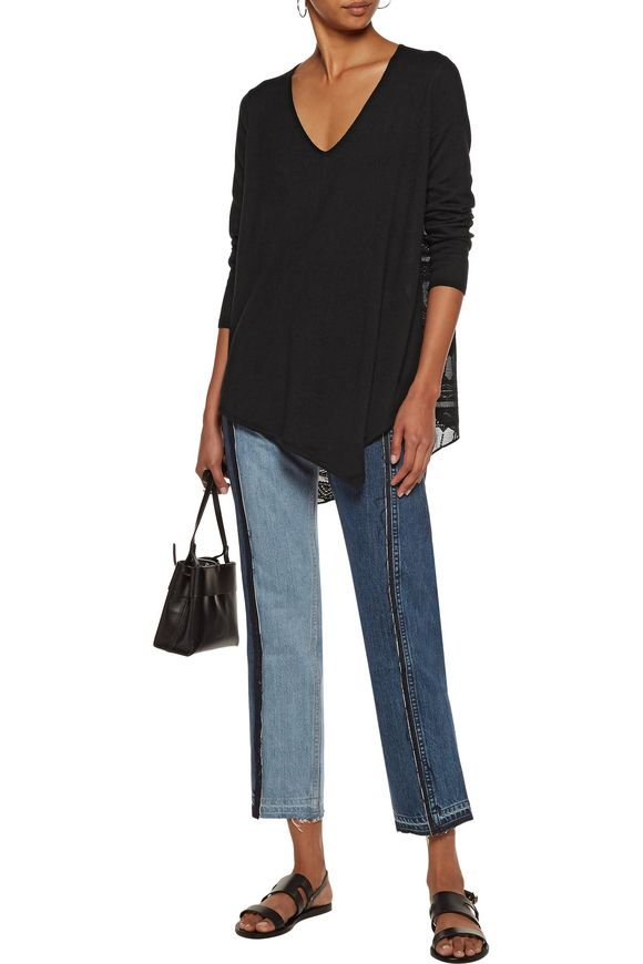 Tambrel embroidered gauze-paneled cotton sweater | JOIE | Sale up to 70% off  | THE OUTNET