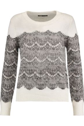 MAJE Lace-paneled knitted sweater