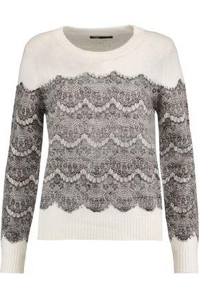 MAJE Lace-paneled knitted sweater