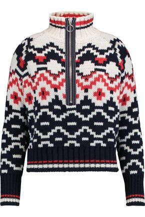 MAJE Intarsia wool-blend sweater