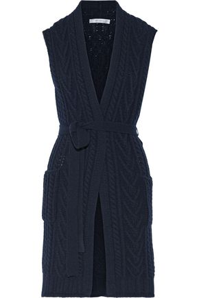 MAX MARA Belted cable-knit wool and cashmere-blend cardigan