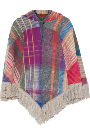 MISSONI Fringed bouclé and crochet-knit wool-blend hooded poncho