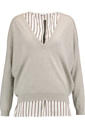 BRUNELLO CUCINELLI Layered embellished silk and cashmere sweater
