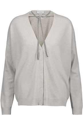BRUNELLO CUCINELLI Chain-embellished wool, cashmere and silk-blend cardigan