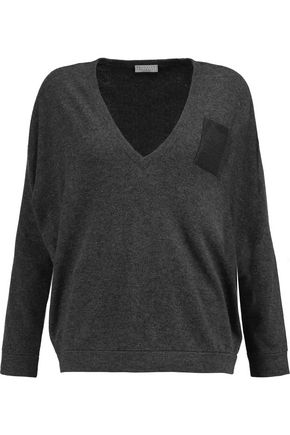 BRUNELLO CUCINELLI Beaded wool, cashmere and silk-blend sweater