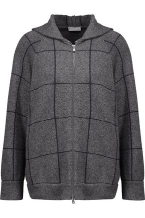 BRUNELLO CUCINELLI Checked intarsia-knit cashmere hooded cardigan