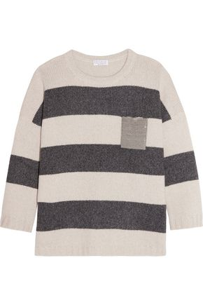 BRUNELLO CUCINELLI Embellished striped cashmere sweater