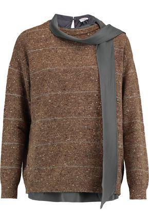 BRUNELLO CUCINELLI Layered striped wool-blend sweater