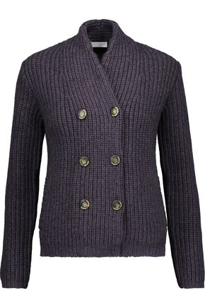 BRUNELLO CUCINELLI Double-breasted ribbed wool-blend sweater