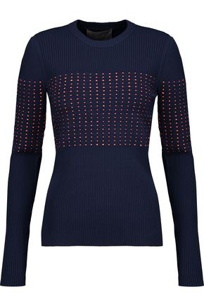 JASON WU Woven macramé-paneled ribbed-knit sweater